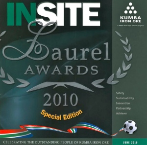 The cover of the program for the 2010 Laurel Awards of Kumba Iron Ore